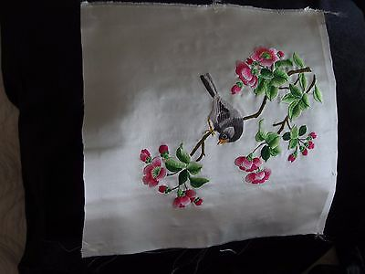 antique vintage Chinese silk hand embroidery bird cushion front