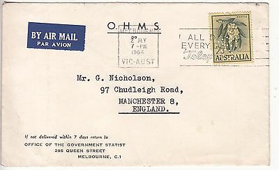 Australia: OHMS Airmail; Office of Govt Statist, Melbourne-Manchester, 2 My 1964