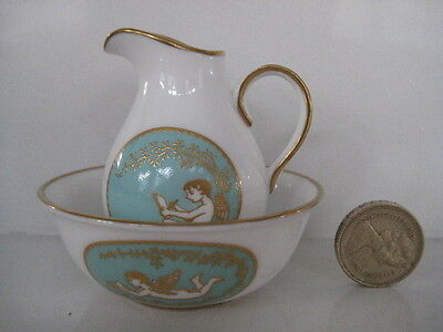 Rare Miniature Spode England Tiny Chamber Set Jug & Bowl Wash Basin Dolls House