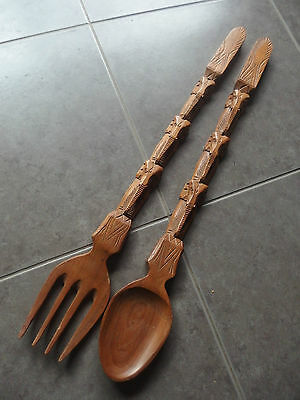 Large Wood Elephant Heads Spoon & Fork~~67Cm In Length