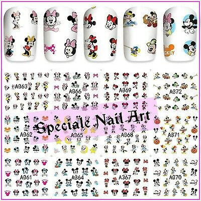 Water decals transfer minnie mickey mouse stickers adesivi disney unghie nail