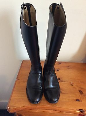 Rectiligne, Long Leather Boots, Ladies, Black, With Zips, Size 40, Regular Fit
