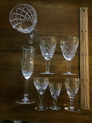 7 assorted Vintage BOHEMIA Crystal DIAMOND Pattern glasses