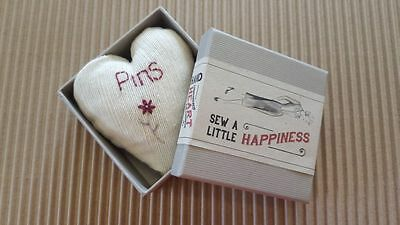 Heart Shape Pin Cushion & Gift Box - East of India Vintage Style Sewing Kit Gift