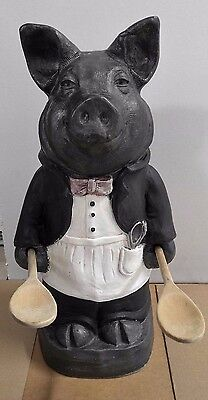 Chef Butler Pig Statue Large Signed Telle M. Stein -The Stone Bunny Co