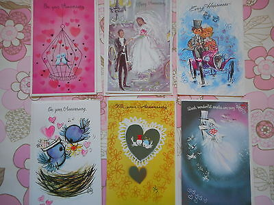 Six unused pretty vintage/kitsch/retro wedding anniversary cards & envelopes