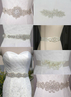 Vintage Bridal Handmade Ribbon Pearl Rhinestone Crystal Wedding Dress Applique