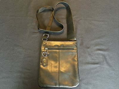 Genuine very soft black leather crossover shoulder bag with stainless steel