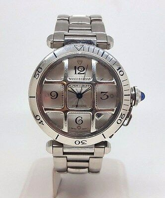 Cartier Pasha Stainless Steel Gents Automatic Watch Removable Grill (2110)