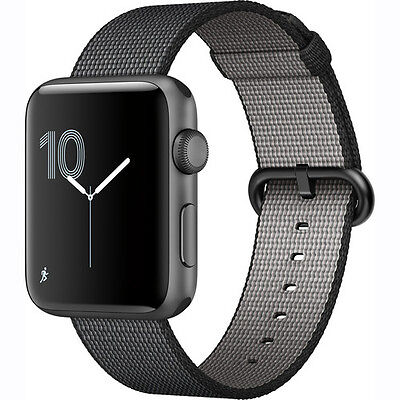Apple Watch Series 2 42mm (Space Gray Aluminum Case, Black Woven Nylon Band)