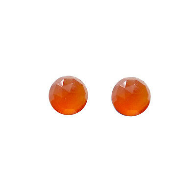 6x6mm 1pair AAA Quality Rose Cut Faceted Cabochon Carnelian Loose Gems