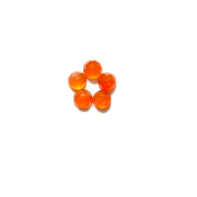 6x6mm 5pc AAA Quality Rose Cut Faceted Cabochon Carnelian Loose Gems