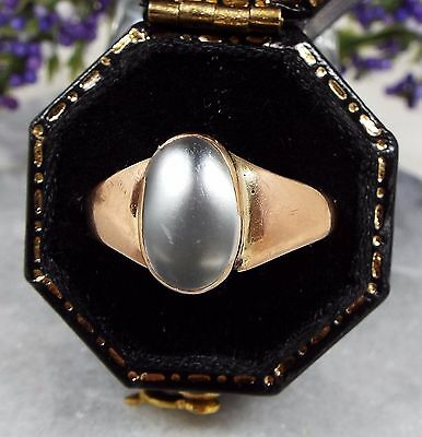 Antique Edwardian 1910 9ct Yellow Gold White Moonstone Ring / Size O 1/2