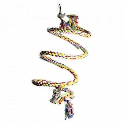 Adventure Bound Rainbow Spiral Rope Hanging Parrot Bird Toy WIth Bell - 7477