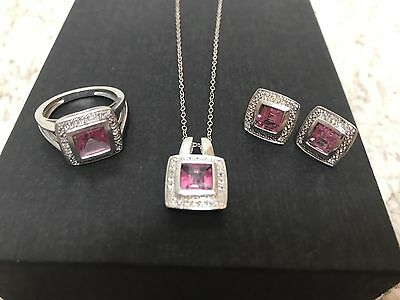 Sterling Silver Necklace, Earrings, And Ring Set Pink Stone And CZ Accent