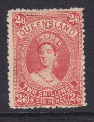 QUEENSLAND SCARCE 1886 2/6 Vermilion QV CHALON FINE MINT/MH SG 158 (DD56)