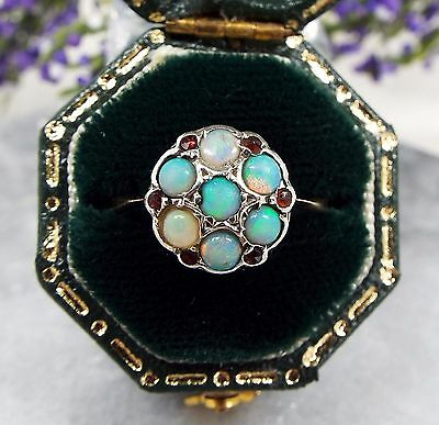 Antique Edwardian 9ct Yellow Gold Vibrant Opal and Garnet Cluster Ring / Size K