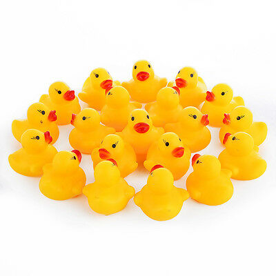 100 Mini Yellow Squeaky Rubber Ducks Bathtime Bath Toy Water Play Kids Toddler