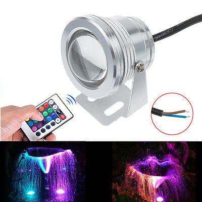 1x Hot Underwater Led Spot Light 10W 12V RGB Wash Flood Light IR Remote Control