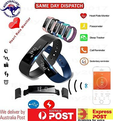 Fitness Tracker Wrist Waterproof Heart Rate Activity Monitor Fit Sports bit AU