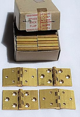 "Vintage 10 Pairs 1"" X 1 5/8"" Solid Drawn Brass Butt Hinges #4 Screws Brass Pins"