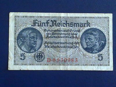 Germany - 5 Mark 1939 - World War Ii-Swastica - Very Fine