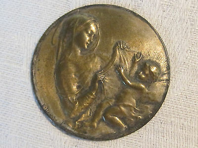 Antique E. Dropsy engraved Mother Mary Magdalene & Jesus repousse medal