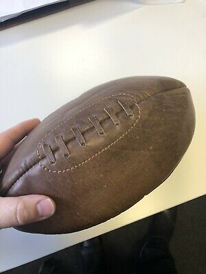 Brown Leather Wash Bag in the Shape of a Rugby Ball With Zip and Lining