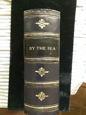 """photo album antique looking leather book  """"BY THE SEA"""" acid free 100 photos 4x6"""