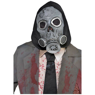 Halloween Latex Zombie Gas Mask with Black Hood