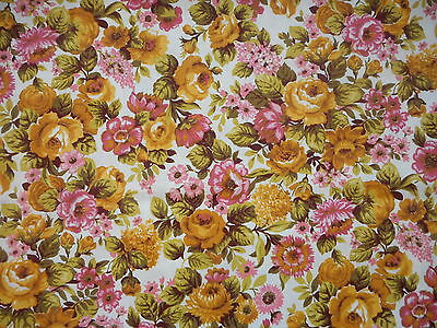 Pretty unused vintage cotton floral furnishing fabric - 1M lengths, pink/yellow