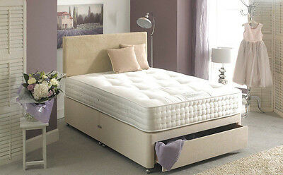 CREAM CHENILLE MEMORY FOAM DIVAN BED SET MATTRESS  HEADBOARD 3FT 4FT6 Double 5FT
