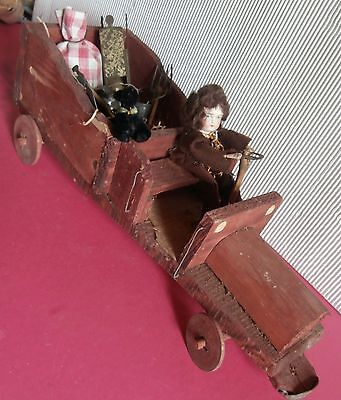 estate /Folk Art  German wooden TRUCK driver  PULL TOY   doll / dog early  1900