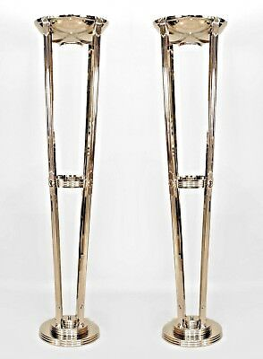 Pair of French Art Deco Style Chrome Floor Lamps