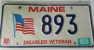 Maine License Plate 893 Disabled Veteran Tag US Flag