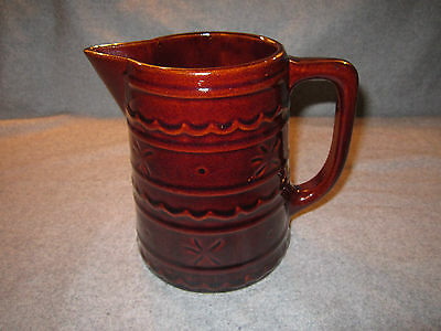 Vintage Marcrest Oven Proof Stoneware Daisy & Dot Dark Brown 6 1/4 Pitcher
