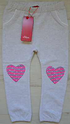 s.OLIVER BABY GIRLS JOGGING PANTS HOSE MIT HERZ PATCHES NEU Gr. 62 / 2-4 mon