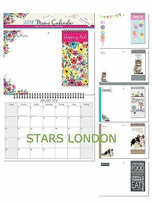 2018 Monthly Memo Calendar With Shopping List Pad & Pen