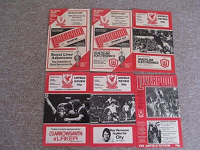 Six Liverpool FC Match Programmes.Vintage 'The Anfield Review'.All 1970/80s.