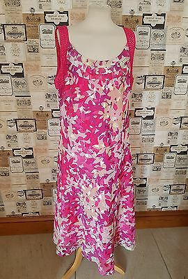 Jacques Vert Size 20 Pink Mix Floral Pattern Dress Mother Of The Bride