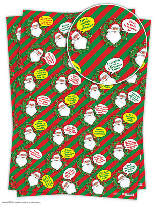 Brainbox Candy Christmas Xmas wrapping paper gift wrap funny rude joke santa
