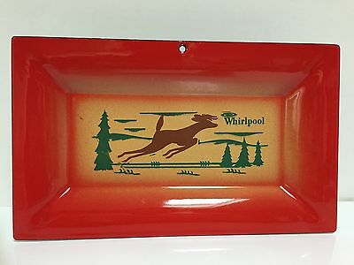"VTG WHIRLPOOL Enamel Lodge Advertising Tray Deer Pine Trees Red 10""x6"" G4"