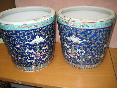 """Pair Of Chinese Export Porcelain Planters 8 1/4"""""""