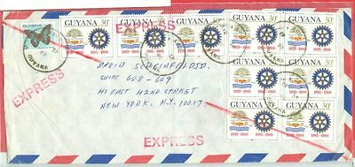 Guyana Topic ROTARY 9 X 30c used on EXPRESS cover to USA