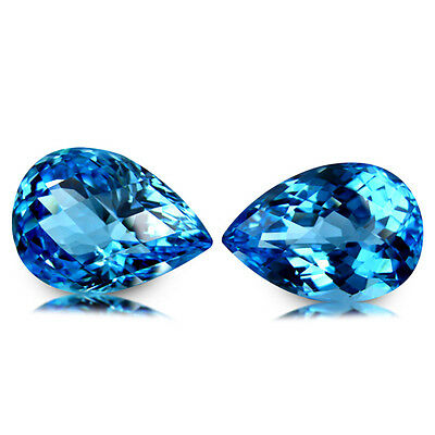 44.58Ct Huge Pear Pair! Awesome Clean Quality Gemstone Natural Sky Blue Topaz
