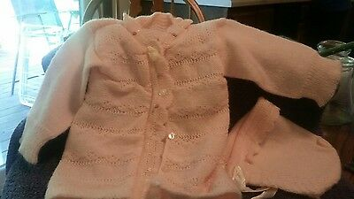 Vintage  Baby Sweater and Bonnet Pink Girl