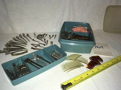 Large LOT of Vintage Hair Accessories-Barrettes/clips/pins Roller Bobby Pins A69