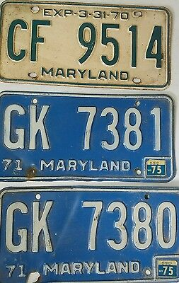 Lot of 3 Maryland License Plates Tags Vintage Man cave decor 1970 1975