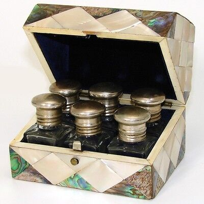 Antique Victorian Mother of Pearl & Abalone Perfume Casket, SIX Scent Bottles