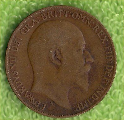 King Edward Vii One Penny Coin 1908